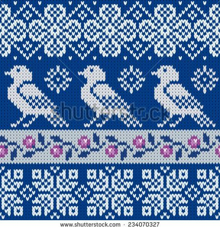 seamless knitted pattern with snowflakes and bird