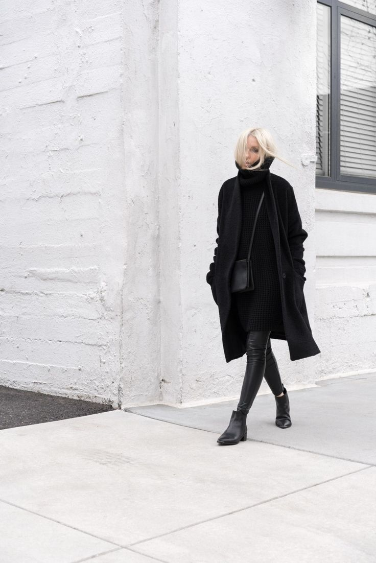 """justthedesign: """" Figtny wears the all black trend in a sleek and sophisticated manner; creating cool, casual vibes with this turtleneck sweater dress and leather leggings combo. Coat: Eileen Fiser,..."""