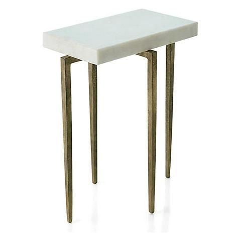 With Its Honed White Marble Top And Tapered Antique Gold Legs
