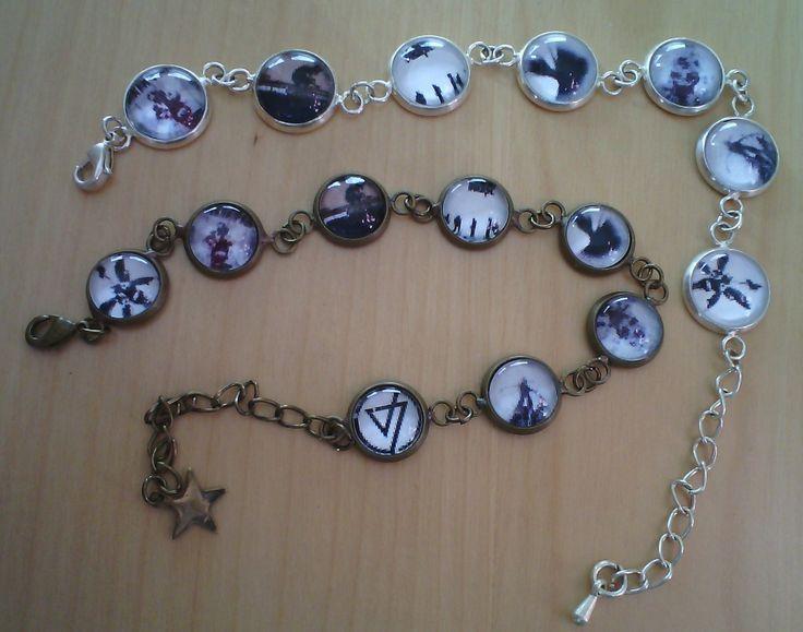 Cabochon-Armbänder - eins in bronze 10mm und eins in silberfarben 12mm mit den Alben von Linkin Park...... YEAH!!