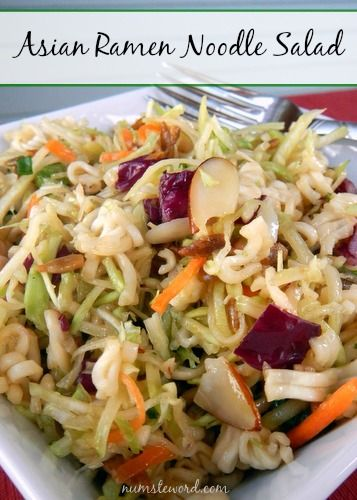 This Asian Noodle salad takes 20 minutes to whip together and can be made the night before.  Easy, quick and one of our favorite salads!