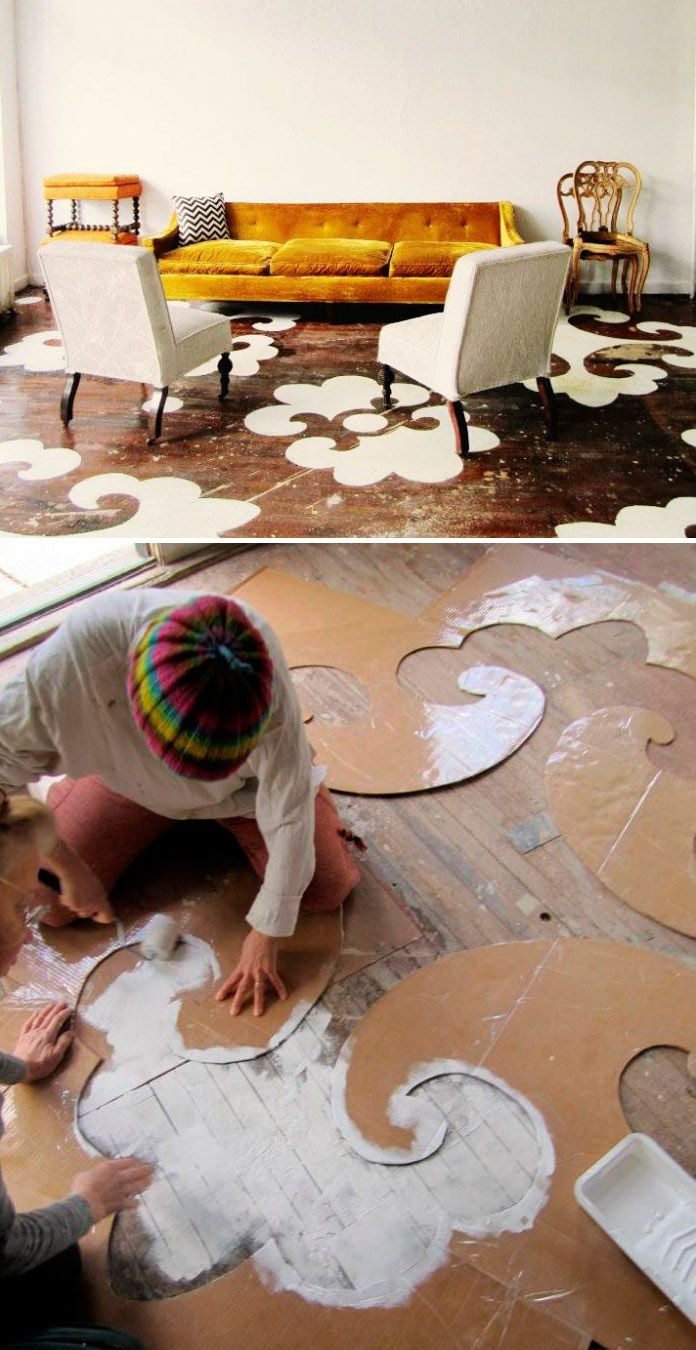 DIY : dramatic stencils on wood floors - On an old wood floor that needs to be refurbished anyhow...why not?  Very creative and artistic!  <3 it for the right room!