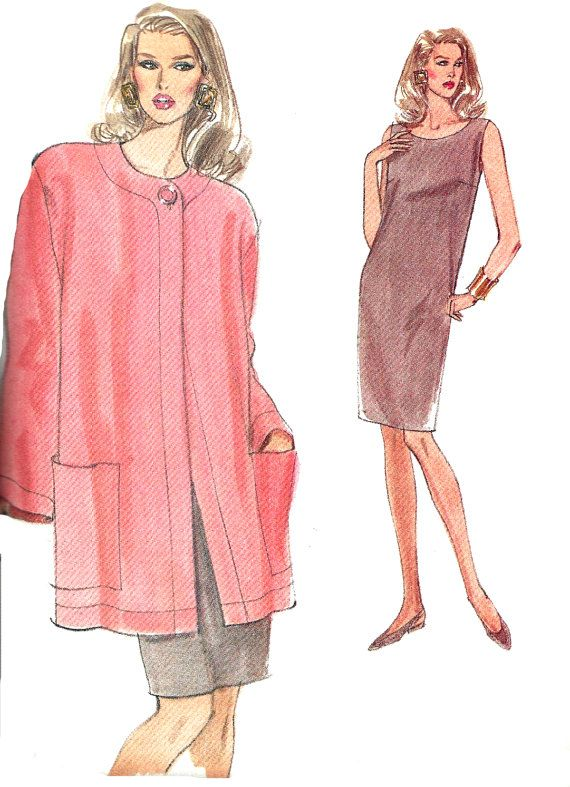 1990s Dress Pattern Loose Fit Pullover Jacket Very Easy Vogue
