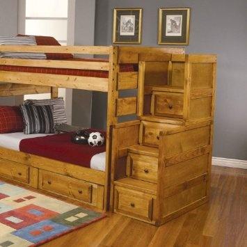 Best Amazon Com Coaster Rustic Bunk Bed Stairway Chest 400 x 300