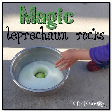 "Magic leprechaun rocks. so fun! she molded a baking soda clay around coins and let them dry out into rocks. then hid them for the kids to find and then told them they needed to wash them before they brought them inside. the water was really vinegar and so the rocks fizzed until the ""gold"" was revealed. LOVE this!"