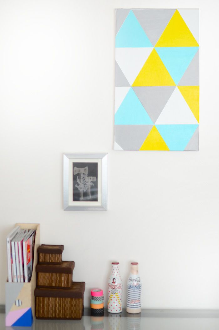 diy tableau g om trique essayer pinterest toile d co et triangles. Black Bedroom Furniture Sets. Home Design Ideas