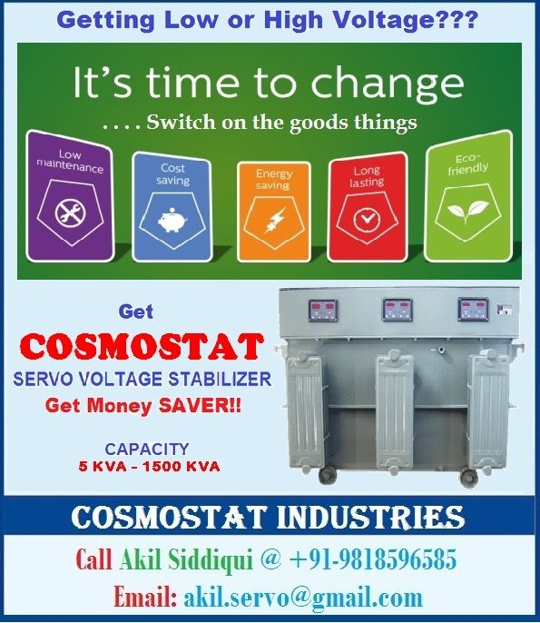 #cosmostat #servostabilizer safeguard your household appliances from voltage fluctuations due to its superior design and high performance. The #servovoltagestabilizer works on the principle of the transformer where the input current is connected to the primary windings while the output is received by the secondary windings. for any more clarification please visit our website www.servostabilizer.in or call us Akil Siddiqui @ +91-9818596585