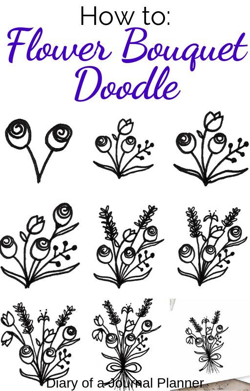 Easy Flower Bouquet Drawing Step By Step Tutorial Flower Bouquet Drawing Easy Flower Drawings Flower Doodles