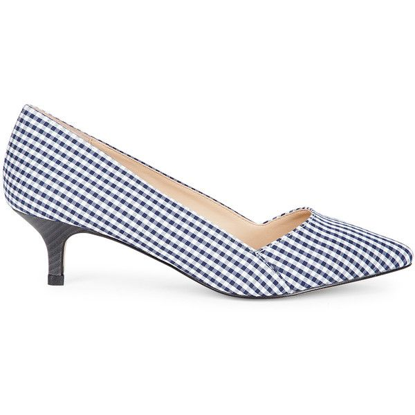 Sole Society Desi Kitten Heel Pump (€29) ❤ liked on Polyvore featuring shoes, pumps, navy gingham, navy shoes, navy kitten heel shoes, patterned pumps, navy pumps and navy blue pumps