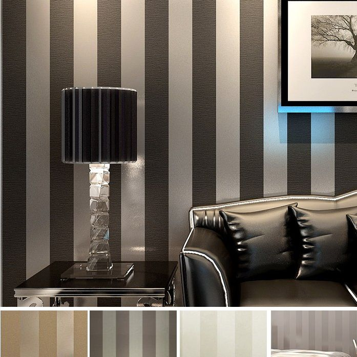 The 25 best black and silver wallpaper ideas on pinterest for Striped wallpaper bedroom designs
