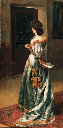 LA CARTA DE AMOR,  Oleo sobre Tela 116 x 58 cm Museo Nacional de Bellas Artes
