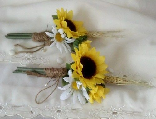 rustic wedding with sunflowers | sunflower_boutonnieres_rustic_chic_wheat_twine_artificial_bridal_flowe ...