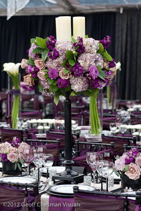 purple wedding centerpiece. Photo: MBK Photography; Design: Magnolia Bluebird design & events
