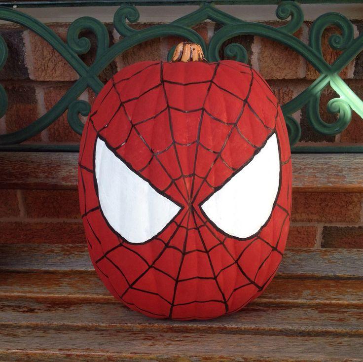 My Spider-Man painted pumpkin. Spiderman pumpkin. Halloween