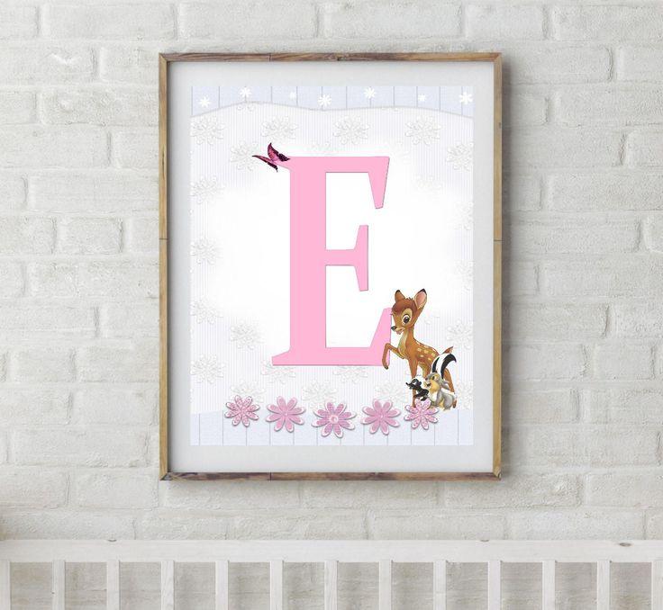 Bambi, Bambi Letters, Letter E, Alphabet Letter E, Bambi Nursery, Baby Initial, Initial Print, Woodland Letter E, Disney Nursery Prints