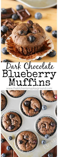 Dark Chocolate Blueberry Muffins ~ Loaded with chopped dark chocolate and juicy fresh blueberries, these muffins are one tasty treat! Just perfect for breakfast or an anytime snack.  www.thekitchenismyplayground.com