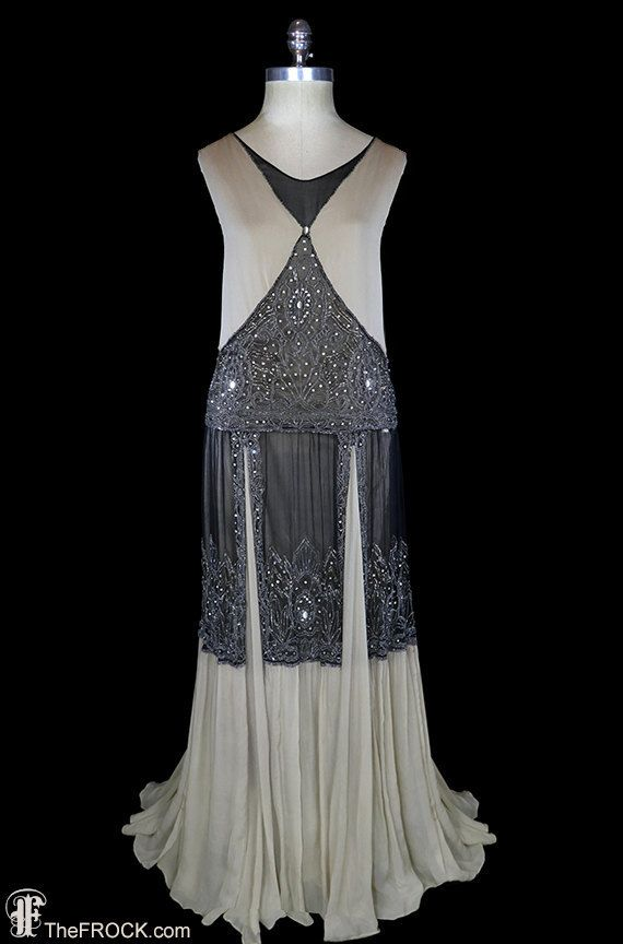 Art-deco beaded gown, 1920s flapper dress, silk chiffon beige nude black, antique couture, Great Gatsby era, sleeveless heavily beaded, rare