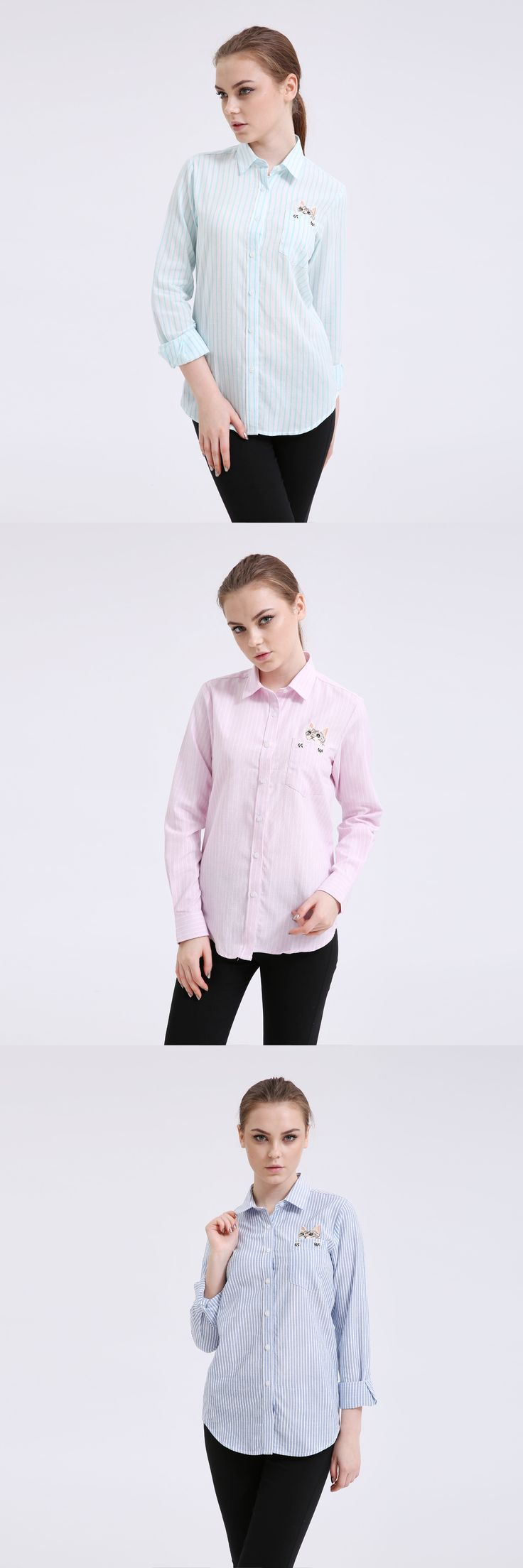 Dioufond New Women Animal Striped Blouses Plus Size 5XL Oxford Ladies Tops Long Sleeve Feminina Shirt High Quality 2017 Blusa