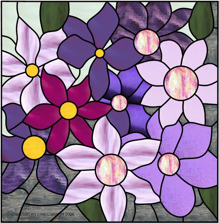 Stained Glass Pattern: Clematis