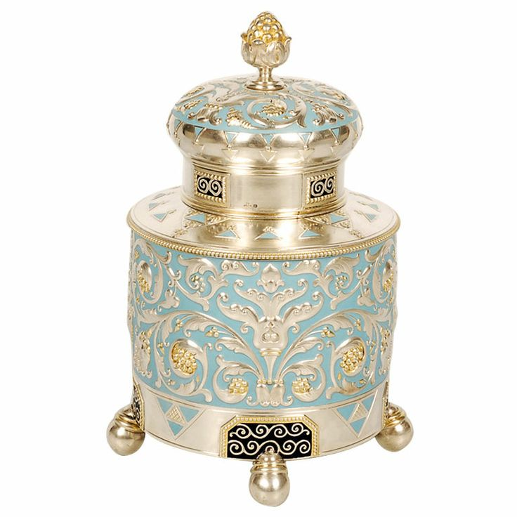 A large and impressive Fabergé silver, parcel-gilt, and enamel tea caddy, Moscow, 1908-1917.