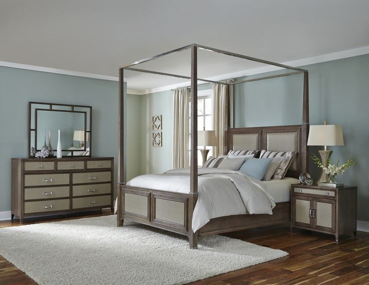 Aico Biscayne West Canopy Bedroom Set In Hazelnut