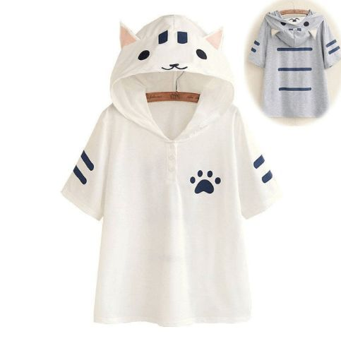 4699eaccfc Cute cat hooded T-shirt SE8396 in 2019