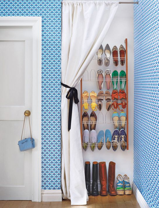Shoe Storage behind a curtained closet. #shoe #storage