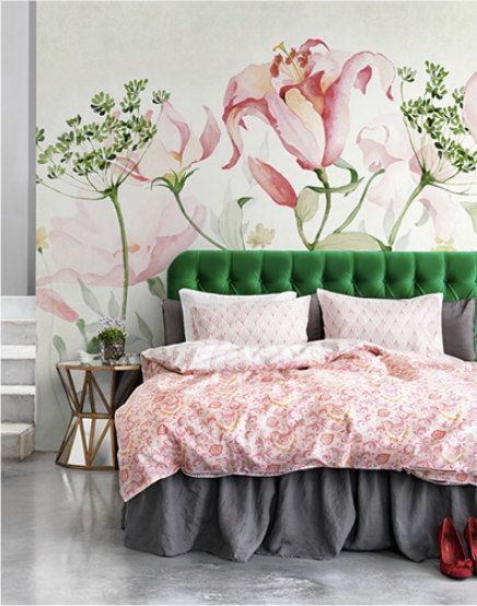 large flower print wallpaper, large painted flowers on a wall, pink and green flowers mural on a wall, bedroom décor, velvet headboard, (scheduled vi…