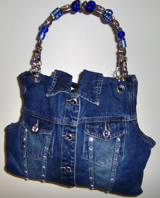Super cute handbag made from an old denim jacket.  I love the handles - dresses it up quite a bit!