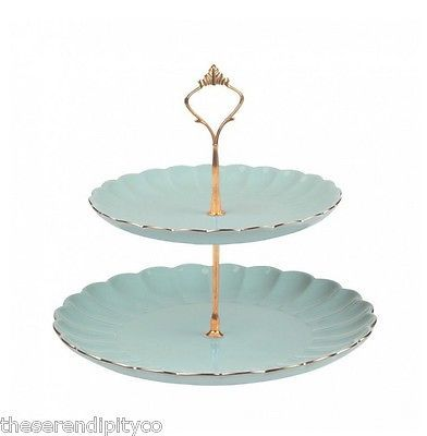Luxury Vintage Style Gold & Duck Egg  English Afternoon Tea Time Cake Stand