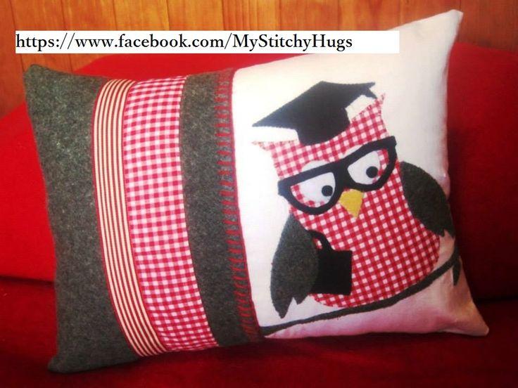 Graduation Owl cushion cover made by https://www.facebook.com/MyStitchyHugs