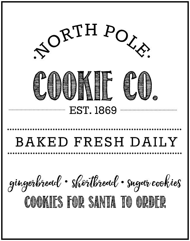 Free North Pole Cookie Co Christmas Printable For The Home