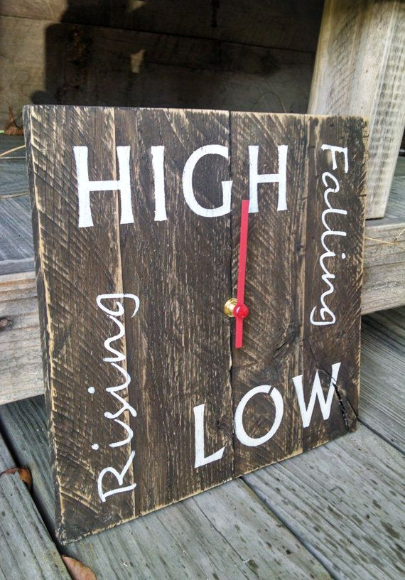 Tide Clock Semidiurnal Reclaimed Wood by OldBleu on Etsy