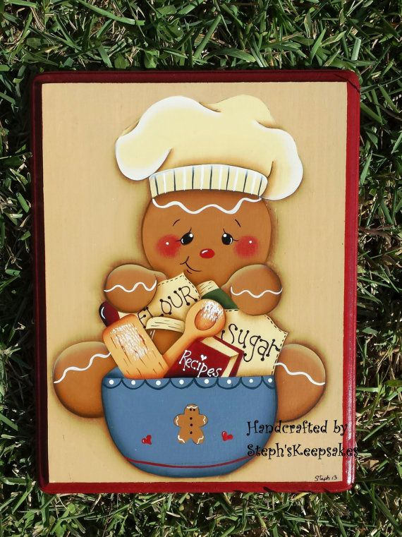 Hand Painted Wooden  Gingerbread Plaque by stephskeepsakes on Etsy, $12.99