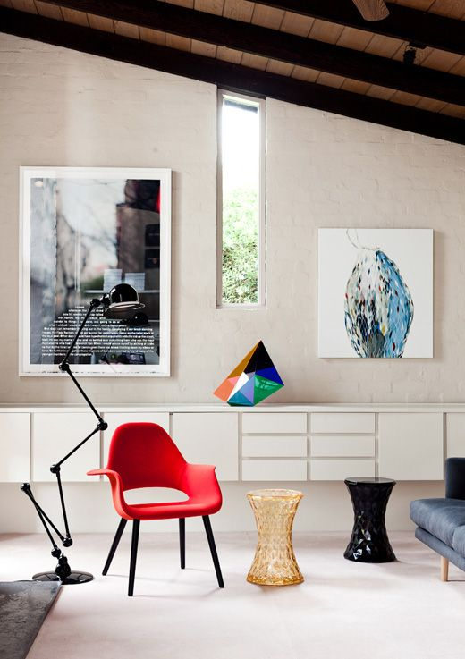 The Melbourne home of Sophie Gannon and family. Artwork left to right – Martin Smith, Gemma Smith (sculpture), Emily Ferretti. Photographs by Sean Fennessy for thedesignfiles.net