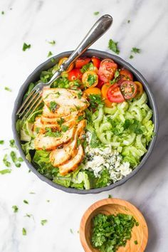 Grilled Buffalo Chicken Salad With Greek Yogurt Blue Cheese Dressing.