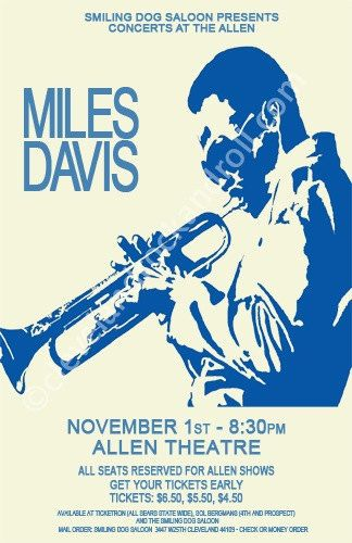 Miles Davis 1974 Cleveland Concert Poster by ClevelandRockAndRoll, $15.00