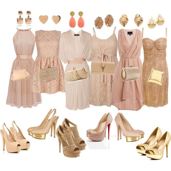 Mismatch Bridesmaid Dresses by kathybitanga on Polyvore  A good example of the idea of mismatched bridesmaids dresses