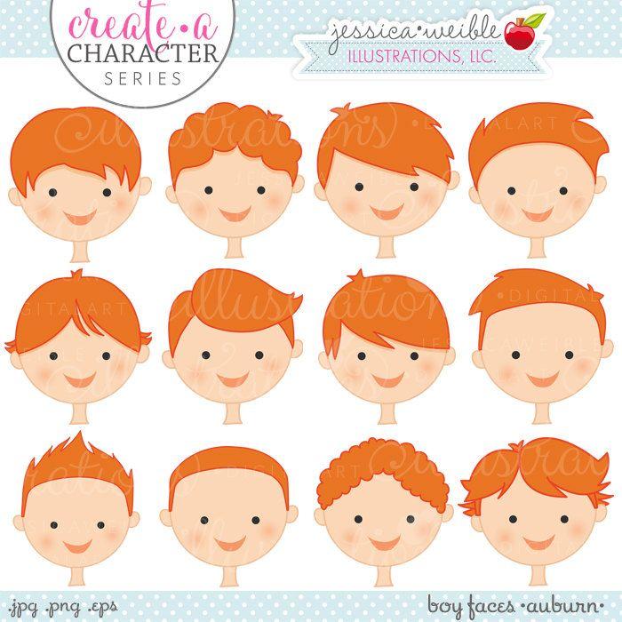 Auburn Boy Faces - Create A Character Series - Cute Digital Clipart - Commercial…