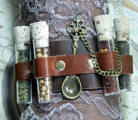 Apothecary steampunk cuff, steampunk cuff, leather bracer, medicinal cuff…: