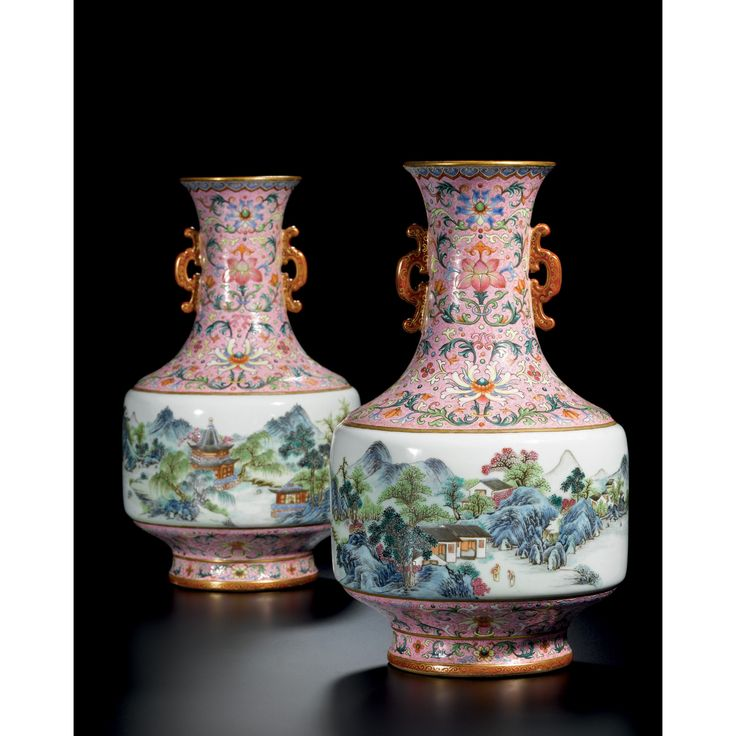 """A superb pair of pink-ground famille rose """"Landscape"""" vases. Seal marks and of the Period of Qianlong      Sotheby's"""