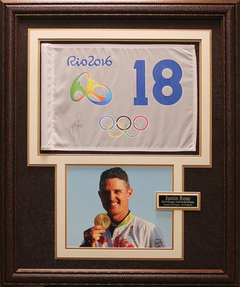 Justin Rose 2016 Olympic Champion Signed flag Display.