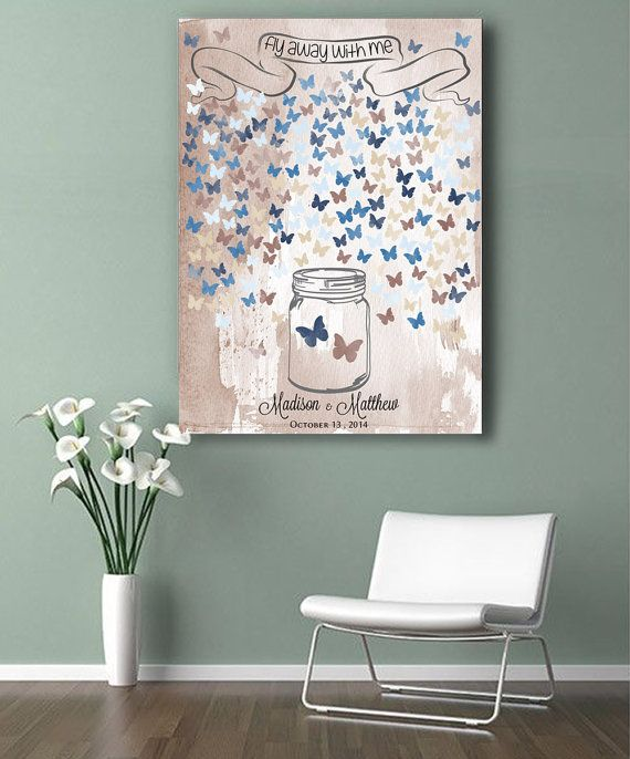 Romantic Wedding Guestbook jar with butterflies. Print on canvas 200 sign. Choose your color and number of signatures