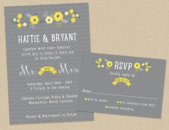 Yellow and Grey Wedding Invite and RSVP Invitation by seedtosprout
