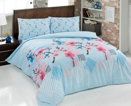 Купить постельное белье из ранфорса BRIELLE JAPAN GARDEN голубое 1,5-сп от производителя Brielle (Турция)