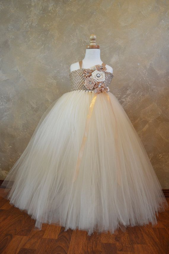 Champagne and Ivory Flower Girl Tutu Dress