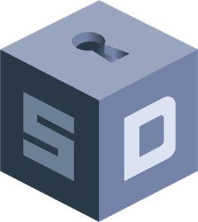 SecureDrop logo cube with keyhole