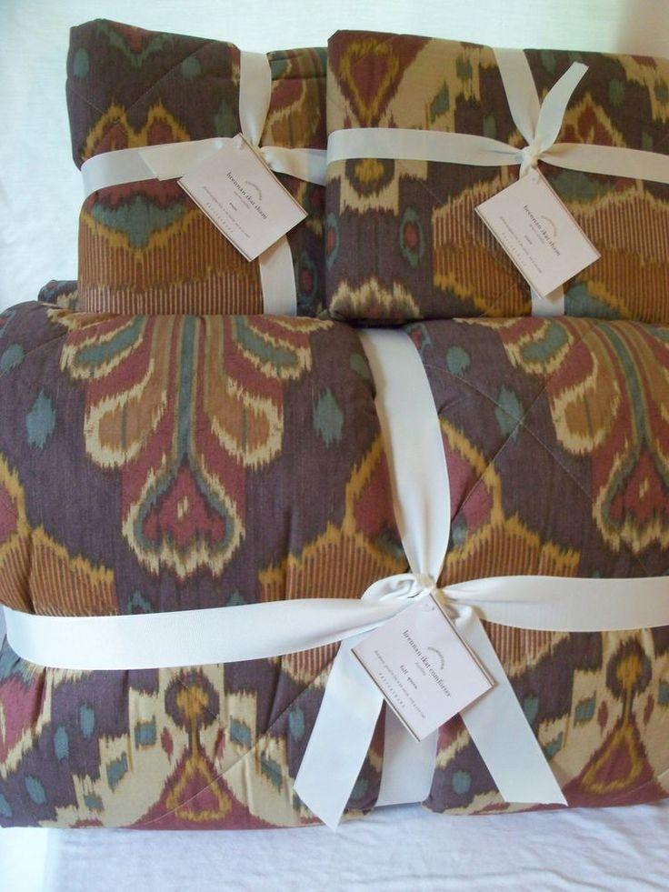 NEW POTTERY BARN Brennan Ikat Full/Queen Cotton Comforter & 2 Euro Shams Bedding #PotteryBarn #Southwestern