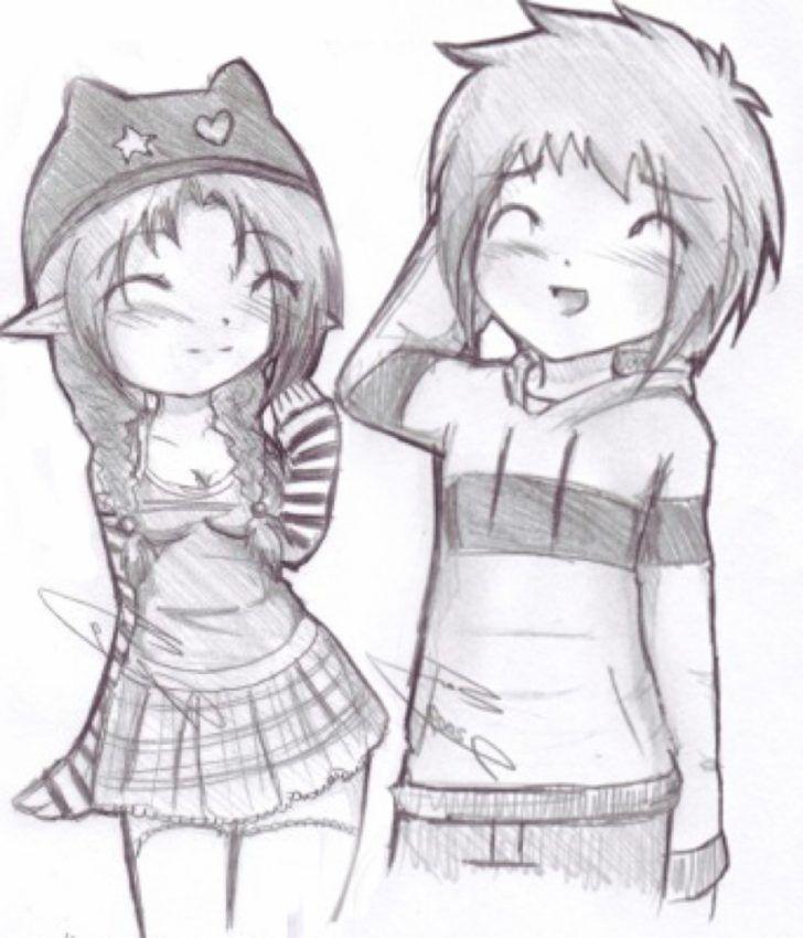 Anime Beginners Couple Cute Drawings Easy Heart