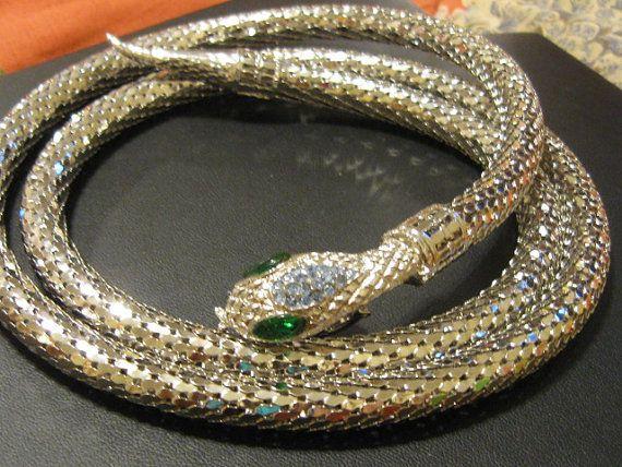 Vintage Silvertone and Rhinestone Snake Belt